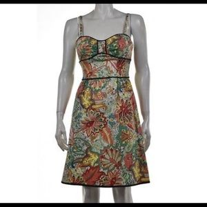 NANETTE LEPORE DRESS SZ 8 GREEN PRINT KNEE LENGTH